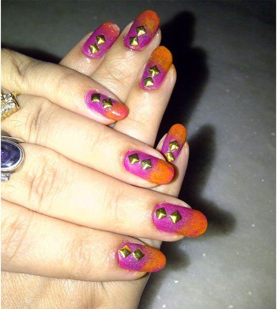 Gold Studs Nail Art