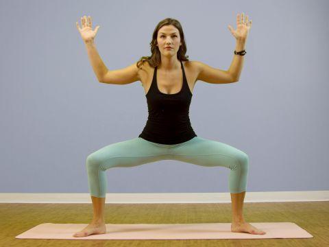 goddess pose  utkata konasana  gaiamtv  standing yoga
