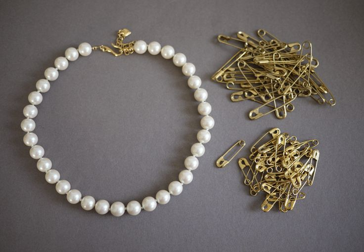 Pearl and Safety Pin Necklace