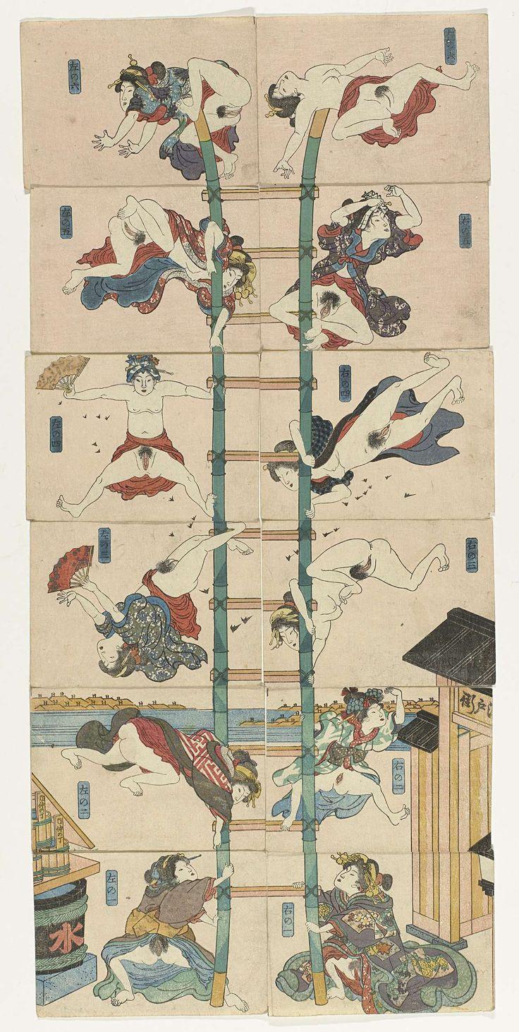 Utagawa Kuniyoshi | Serie van twaalf koban Shunga met prostituées in de rol van acrobatische brandweerlieden, Utagawa Kuniyoshi, c. 1830 - c. 1835 | Serie van twaalf koban prenten met twaalf halfnaakte vrouwen die acrobatische toeren uithalen op een ladder. Per zes boven elkaar geplaatst vormen de twaalf genummerde bladen een parodie op soortgelijke voorstellingen van brandweerlieden die halsbrekende stunts uithalen. De opschriften op de emmers op de één na onderste prent links verwijzen…