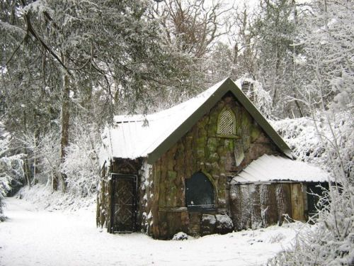 english-idylls:  Woodland cottage, Blaise Castle by George...