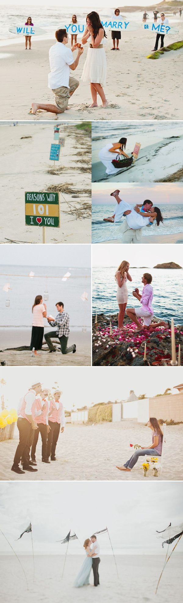 Your proposal story will be told over and over again to friends and family, so make it special with some romantic and creative ideas! Here are some marriage proposal ideas that are sure to make a beautiful impression!   Beach Proposal Credits (from top and left): Lenoce / Moreland photography / Caroline Ro Photography / …