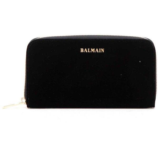 BALMAIN velvet WALLET WITH LOGO (£485) ❤ liked on Polyvore featuring bags, wallets, balmain, balmain bag, logo bags and velvet bags