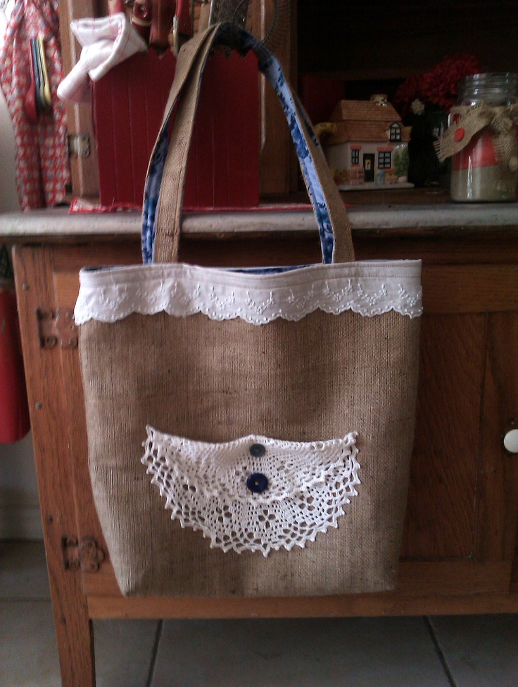 10 best images about projects i 39 ve made on pinterest for Burlap bag craft ideas