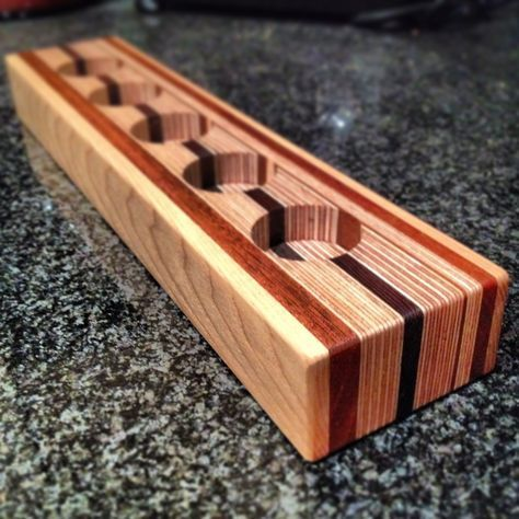Candle Holder made form layers of plywood, mahogany, wenge and ash. #WoodworkingPlans
