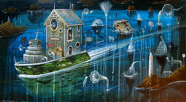 dean raybould nz surrealist artist, bright colourful quirky paintings