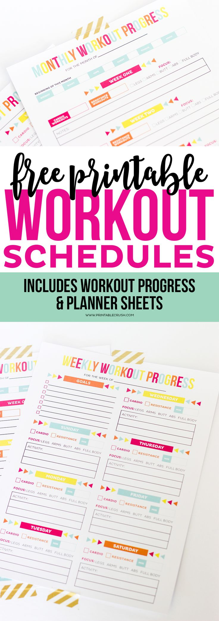 Download this FREE Printable Workout Schedule and Progress ...