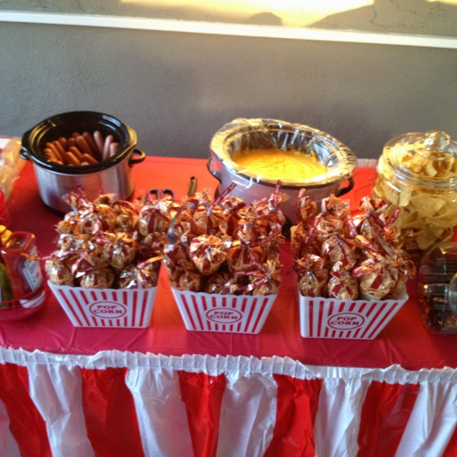 Concession Stand For Kids Outdoor Movie Party. Hot Dogs