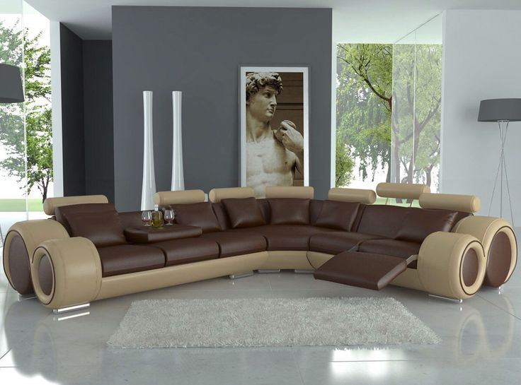 Recliner Sofa Tosh Furniture Modern Italian Design Franco Leather Sectional Sofa Black White in Bonded Leather