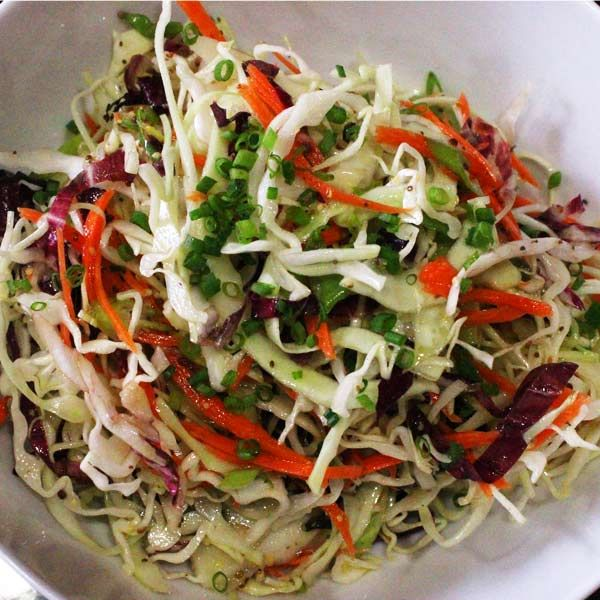 Vinegar-based-coleslaw... THIS, minus the silly honey!
