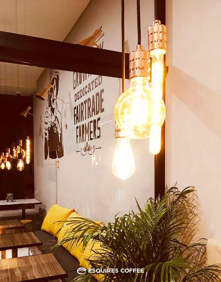ESQUIRES COFFEE PORTO _ Industrial pendant lights #lighting #bulblight #retro #concretewall #woodentable #plant #banquetteseat #graphic #blackgraphic #illustration #fairtradefarmers #coffeeshop #coffeeshopporto #esquirescoffee #porto #portugal
