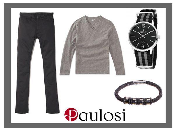 Perfecta combinación de gris y negro para este otoño. Dale un toque  moderno con el reloj Nowley Navy 8-5538-0-15 y la pulsera Acero Noir.