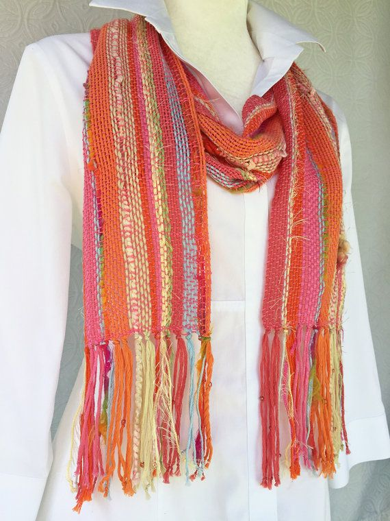 Boho Hand Woven Scarf - Boho Scarf - Summer Scarf - Handmade Scarf - Pink Scarf - Womens Scarf - Cotton Scarf - Gift for Her