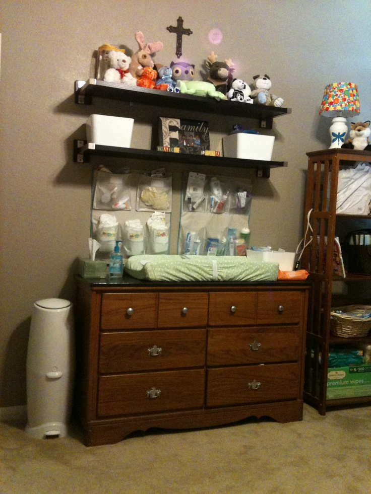 Baby Changing Station. We Used A Dresser We Already Had And Added Some Ikea  Shelves