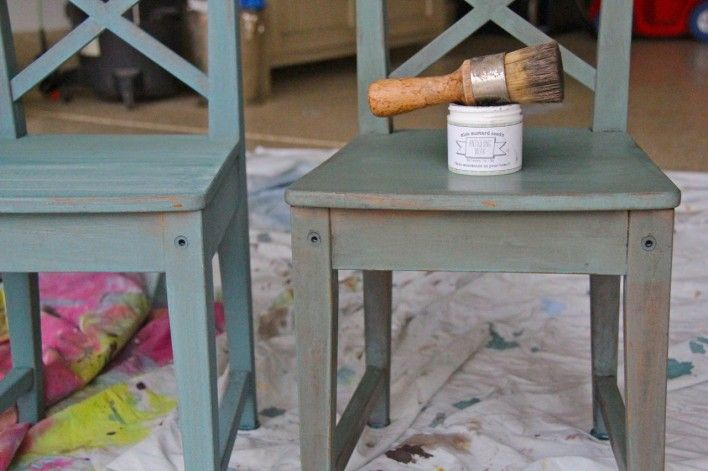 Ikea kids' chairs painted in Miss Mustard Seed Milk Paint :: kitchen scale