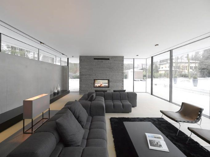 :: INTERIORS :: gray on gray with accent of black, lovely corridor, House M by Titus Bernhard Architects, featured on contemporist #interiors