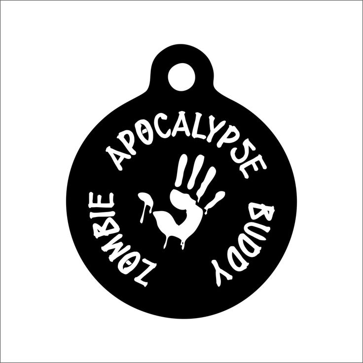 Zombie Apocalypse Buddy Dog Tag - Personalized Engraved Pet Tag - Funny Pet Tag - Dystopian Dog Tag by BlackDogEngraving on Etsy