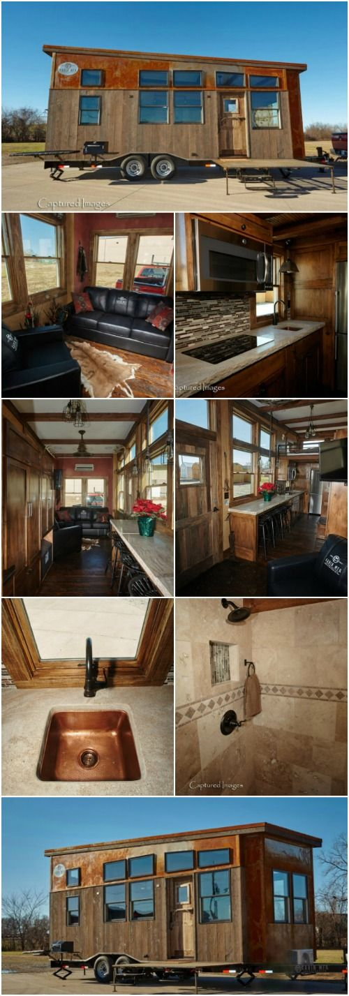 "The Manliest Tiny House Called the Bushwhacker is Up for Grabs! {14 Photos} A lot of the tiny houses that we see are geared more towards the female fan base or are at least more neutral in nature. But this tiny house in Fort Scott, Kansas breaks the mold and is decidedly masculine! Called the Bushwhacker, this 24-foot-long, 8'6"" wide tiny house was designed by Cabin MFG with the hunter in mind."