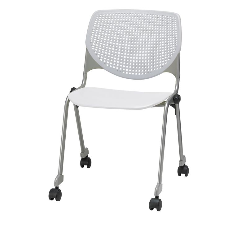 Get extra seating in a pinch that stores easily with the stackability of this KOOL polypropylene chair. The dual-wheel casters make it easy to move the chair to another desk or room. 15 Gauge Cold-Rol