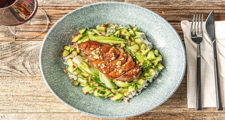 Soy Duck with Bok Choy and Jasmine Rice