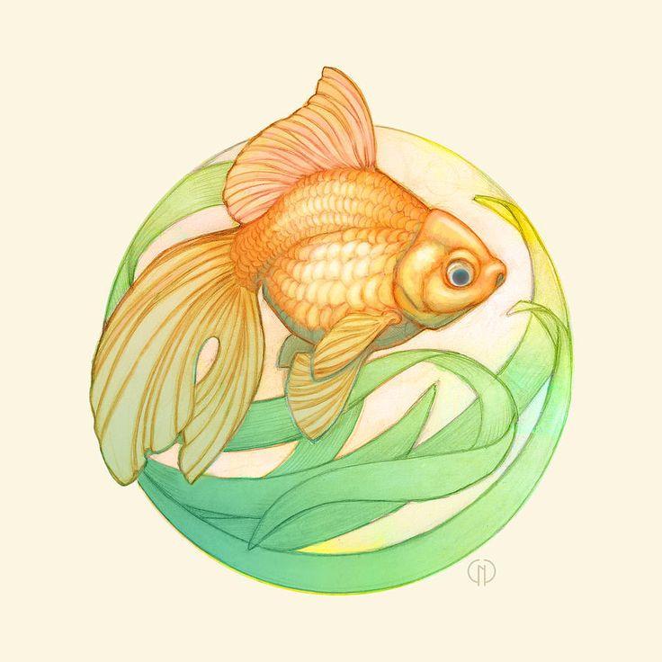 Картина аквариум - Золотая рыбка Ryukin Кэтрин Ноэль