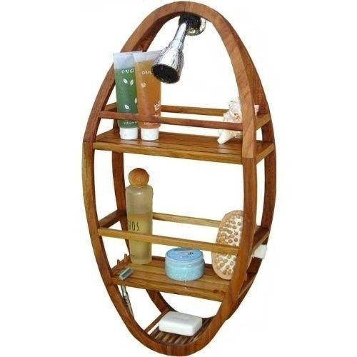 Solid Teak Shower Organizer Self Hanging Caddy Bathroom Storage Bath Accessories