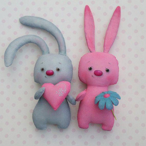 Textile toy bunny with heart от Toy4JoyRU на Etsy