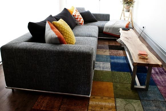 Sophie and Dale from The Block's living room perfection. Vintage multi colour rug from Grant Dorman.