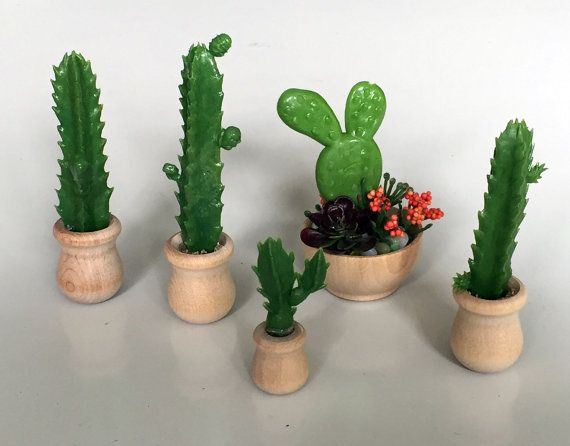 1 6 scale cactus plant wood bowl for ooak dollhouse or for Wooden cactus planter