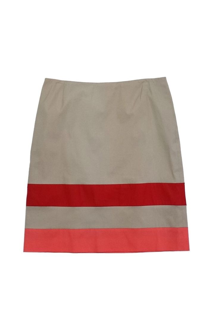 Hugo Boss- Tan Red & Coral Striped Pencil Skirt Sz 6 | Current Boutique