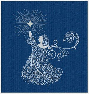 """""""Christmas Angel"""" is the title of this cross stitch pattern from Alessandra Adelaide Needleworks that features a beautiful Christmas Angel against a vivid blue fabric but any dark color of fabric you chose would be beautiful as well."""