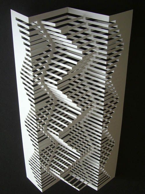 Elodole  Made by cutting and folding paper, this piece reminds me of an MC Escher drawing.