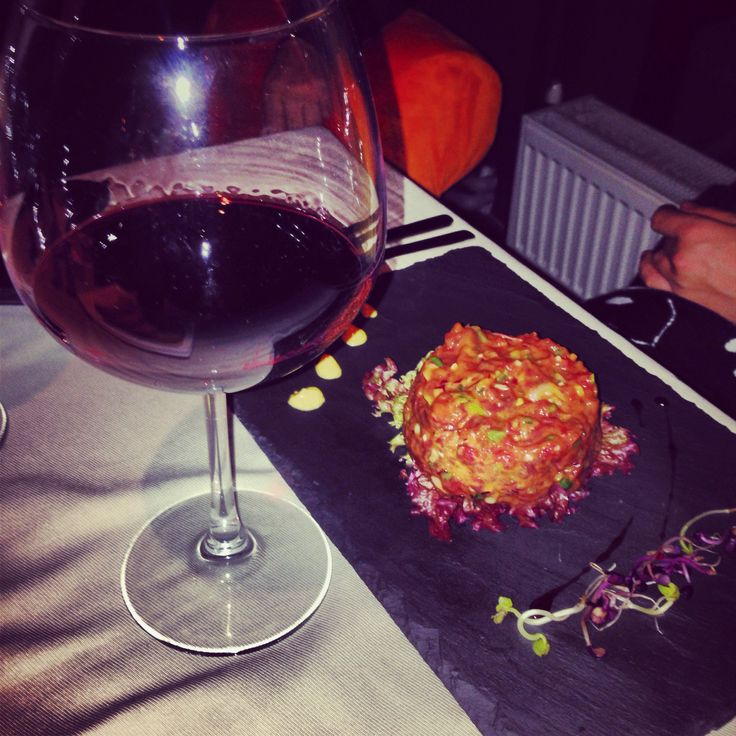 Beef Tartare with a glass of wine!