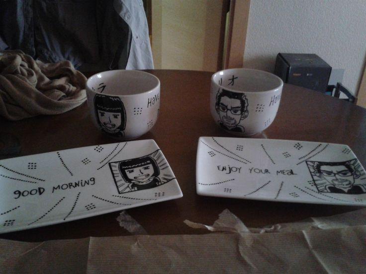 Vajilla + Rotulador ceramica + Imaginación