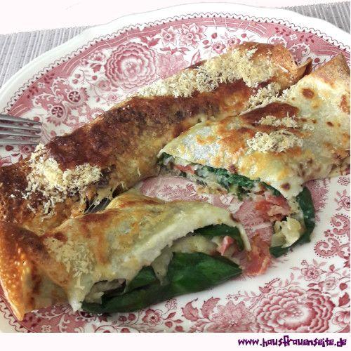 Pfannkuchen-Mangold-Rollen Mangold lecker zubereiten in Pfannkuchen-Mangold-Rollen - überbacken mit Käse
