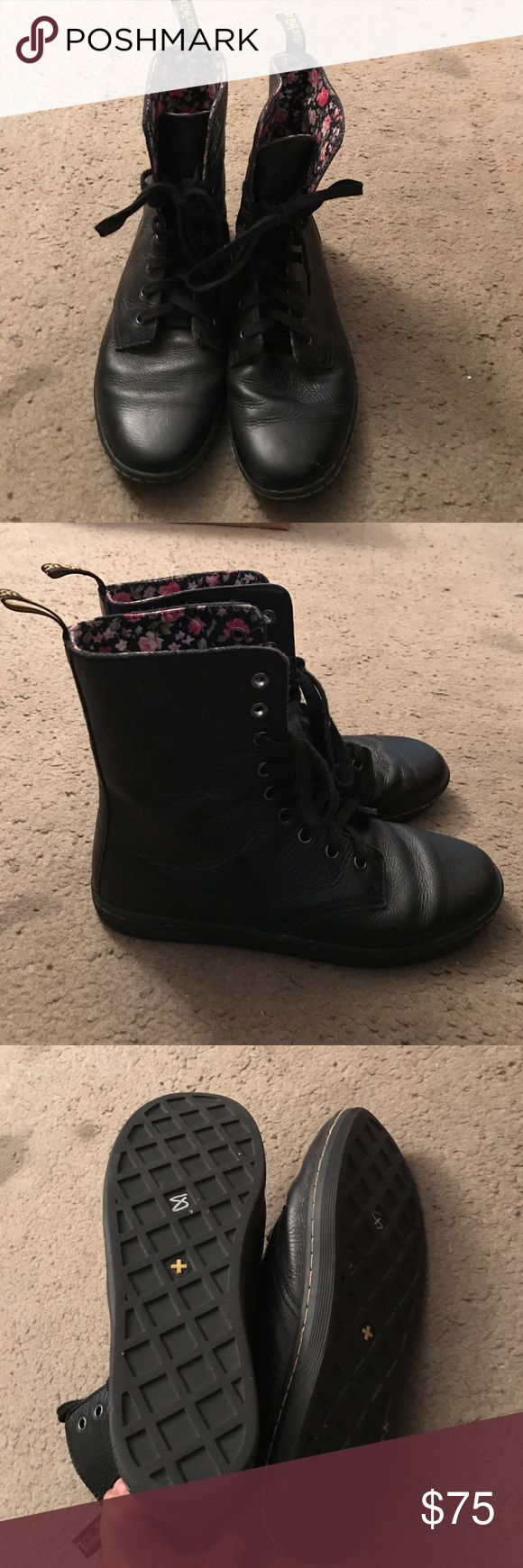 Dr. martens black boots They are in great condition only worn once has flowers on inside so size 9 in us I believe dr martens Shoes Ankle Boots & Booties