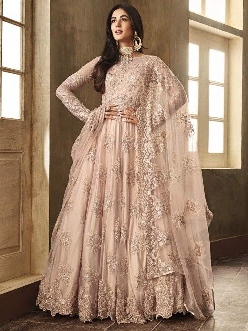 27bbde3ff2 Sonal chauhan peach partywear anarkali suit online which is crafted from  net fabric with exclusive embroidery and stone work. This stunning designer  ...