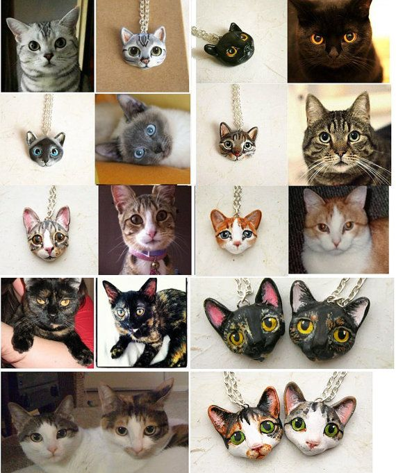 Custom Cat Necklace or Brooch Portrait of your by FlowerLandShop, $48.00 -- Good Christmas gift idea for my mom