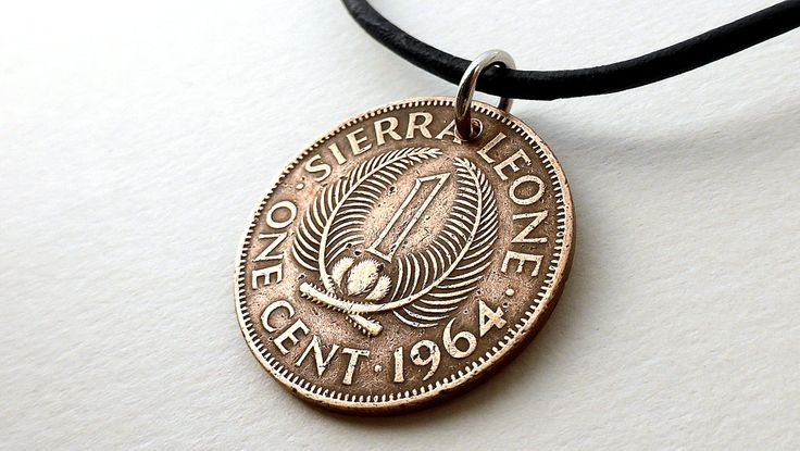 Coin necklace, Sierra Leone, African necklace, Coin jewelry, Tribal necklace, Coins, Leather necklace, Coin pendant, Africa, Jewelry, 1964 by CoinStories on Etsy