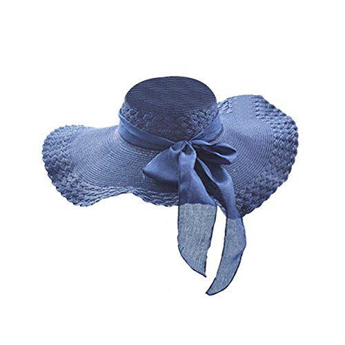 chinatera chapeau de paille pour femme l gante bord large chapeau femme plage bleu marine