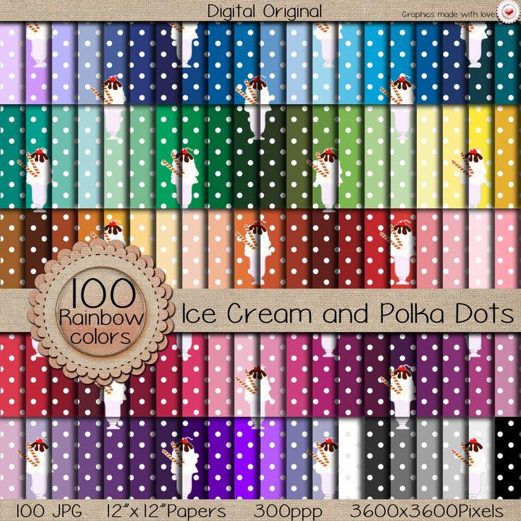 """Sale Digital paper """"MEGA pack"""" / Ice Cream and Polka Dots  / 300 ppi  / instant download. de LilyColor.etsy.com en Etsy"""