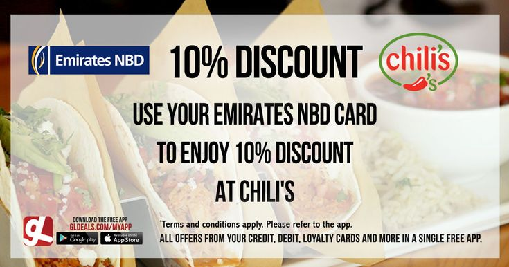Enjoy 10% discount at Chili's using your Emirates NBD card.  Download GL Deals app now and get more access to your card's offers for free. http://www.gldeals.com/myapp #instalike #tagsforlikes #mydubai #uae #offers #app #appstore #iosapp #googleplay #android #ios #gldeals #deals #discount #emiratesnbd #chilis