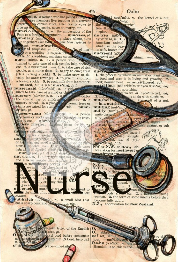 PRINT: Nurse Mixed Media Drawing on Distressed, Dictionary Page,  #Dictionary #Distressed #Dr…