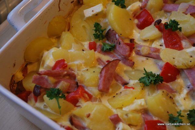 Ugnspannkaka med grönsaker och skinka | Nadjaskitchen.se