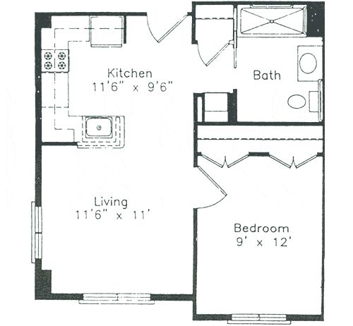 One bedroom house plans 16x30 1 bedroom house 16x30h1 480 for 16x30 house plans