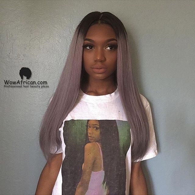 """What a beautiful girl! @aerincreer Her hair color is on point! Who want to try this amazing wig? Use """"aerin15"""" to get $15 off Her Wig Code: CLW35 Original Hair Color: Silver/grey Original Hair Length: 16 inches Cap Construction: Cap7 glue less lace front wig cap www.wowafrican.com #wowafrican #humanhair #lacewigs #geryhair #cute #wowafricanhair #nicehair #wigs #fashion #girls"""