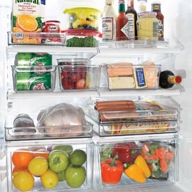 clear plastic Fridge Binz used for gathering small jars, bottle, etc. Available at Solutions: Kitchens Fridge, Website Sell, Organizations Bins, Organizations Items, Fridge Bins, Fridge Binz, Refrigerators Organizations, Life Easier, Fridge Organizations