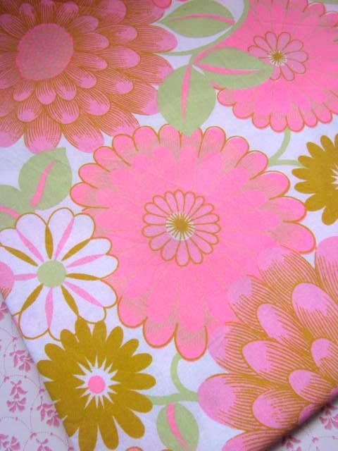 1970s vibrant pink cotton unused sheet fabric on etsy
