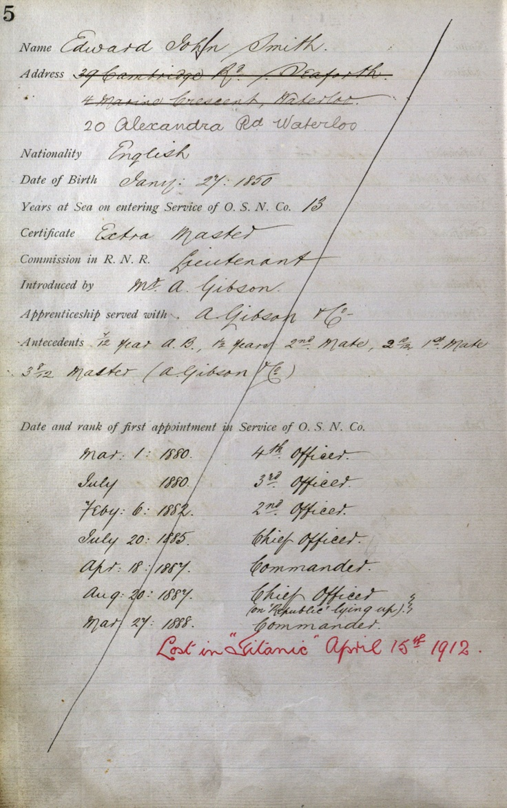 "An original colour scan of Captain Edward Smith's employment record listing all the ships he served on and when. You can see the red ink on his record which tells us he was 'Lost in ""Titanic"" April 15th, 1912'"