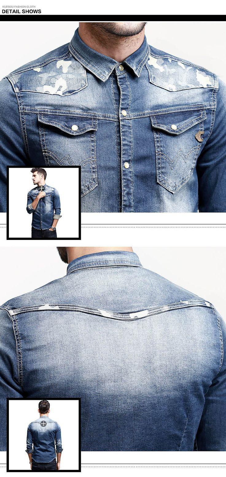 KUEGOU SC-15008 Men's Skinny Denim Long Sleeves Shirt - Blue + White (XXL) - US$ 39.39